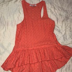 Tops - Coral Eyelet tank top with ruffles